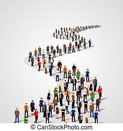 mal, met, een, menigte, van, zakenlui, staand, in, een, lijn., mensen, menigte.