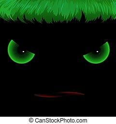 mal, olhos verdes