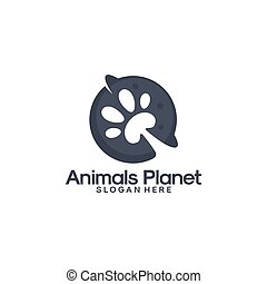 mal, ontwerpen, planeet, dieren, logo, vector