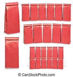 mal, papier, leeg, set, zakken, verpakking, rood