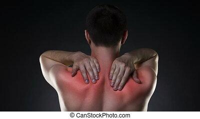 mal reins, douleur cou, arrière-plan noir, homme