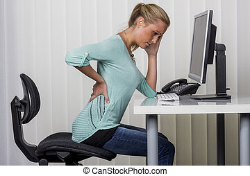 mal reins, femme, bureau