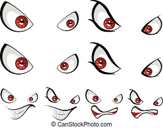 mal, rosto, com, olhos vermelhos
