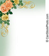 mal, rozen, uitnodiging, trouwfeest