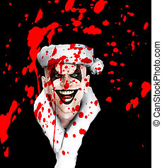 mal, santa, palhaço, sangue