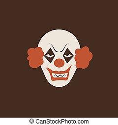 mal, smiley, dessin animé, icon., halloween, effrayant, clown, émotions, duotone