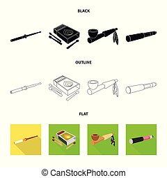 mal, stock., accessoires, collection, symbole., vecteur, conception, euphorie, icône