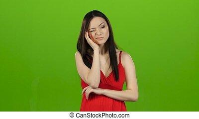 mal tête, écran, souffrance, vert, elle, girl, a, migraines.