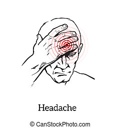 mal tête, croquis, concept, illustration