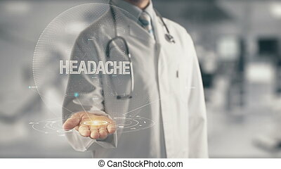 mal tête, docteur, tenant main