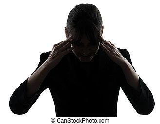 mal tête, femme, silhouette, business, fatigué