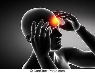 mal tête migraine, concept, noir