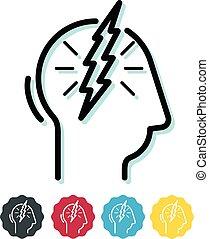 mal tête migraine, icône, -