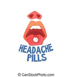 mal tête, pilules, migraine, problèmes, illustration, personne, souffrance, vecteur, santé, mal tête