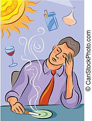 mal tête, sur, détentes, migraine, projection, illustration, parfum, cigarette, clair, fumée, soleil, homme, vin rouge