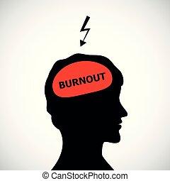 mal tête, tête, concept, silhouette, tension, burnout, équipe, dépression