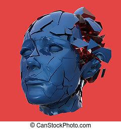 mal tête, tête, femme, mental, problèmes, -, shuttered, tension, exploser, lustré