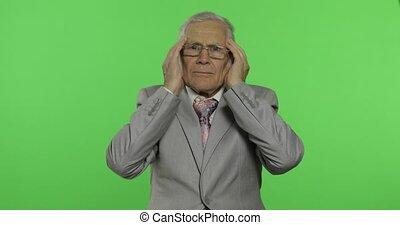 mal tête, vieux, personnes agées, trouble., costume homme affaires, douleur, personne agee, souffrir, homme