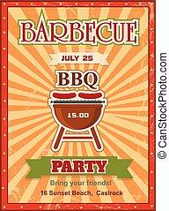 mal, uitnodiging, grill, houtskool, kaart, text., ontwerp, ...