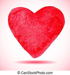 mal, vecto, hand-drawn, rødt hjerte