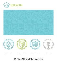 mal, vector, ontwerp, onderwijs