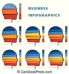 mal, voor, infographic, hoofd van, persoon, van, kleur, strips., set, infographics, start, zakelijk, voorbeelden, voor, 3, 4, 5, 6, 7, 8, negen, posities, stappen, opties, of, parts.