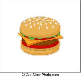 mal, vrijstaand, hamburger, achtergrond, witte , pictogram