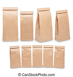 mal, zak, ambacht, pakpapier, set, verpakking