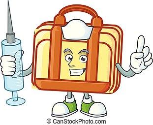 mala, enfermeira, caricatura, equipamento, escritório., trabalho
