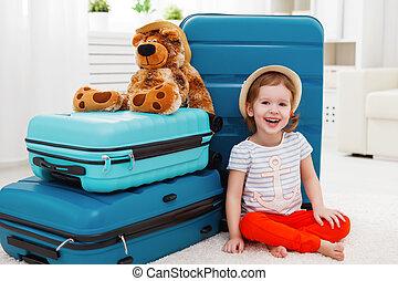 mala, férias, cobrar, criança, menina, feliz