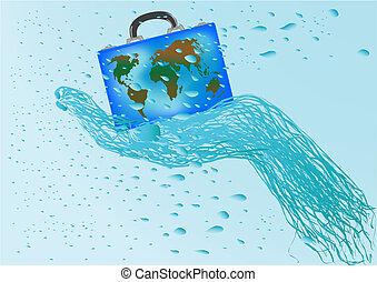 mala, globo, vetorial, ilustração, mão