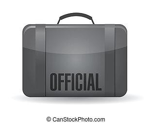 mala, oficial, desenho, ilustração, bagagem