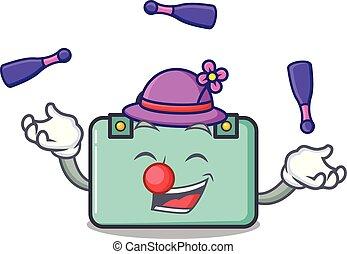 malabarismo, estilo, maleta, caricatura, mascota
