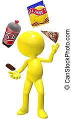 malabarista, porquerías, hielo, pizza, crema, pedacitos, ...