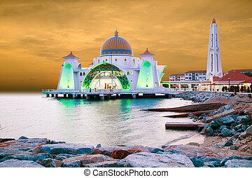 Malacca Straits Mosque or Masjid Selat Melaka ,in Malaysia