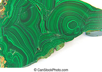 Malachite in front of white background, carbonate with the chemical formula Cu2 [(OH) 2 | CO3]