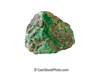 malachite green mineral on a white background