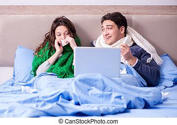 sien malade lit inqui t femme malade h pital mari photographie de stock rechercher. Black Bedroom Furniture Sets. Home Design Ideas