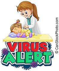 malade, alerte, virus, police, mot, conception, docteur, girl