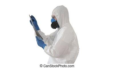 malade, covid-19, epidemiologist, arrière-plan., respirateur...