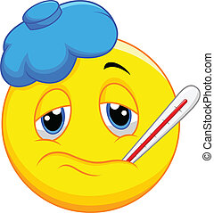 malade, dessin animé, emoticon