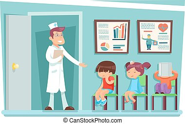 malade, docteur, chaises, séance, illustration, enfants, vecteur, caractères, dessin animé