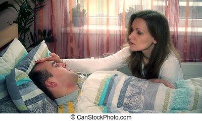 malade, elle, prendre, jeune, lit, femme, soin, mari, homme