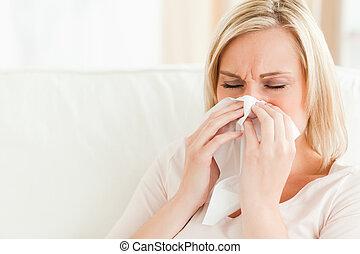 malade, elle, soufflant nez, femme
