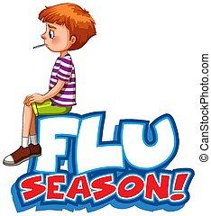 malade, garçon, grippe, mot, conception, saison, police