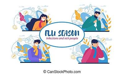 malade, infections, gens, grippe, saison, ensemble
