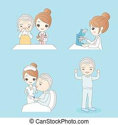 malade infirmière, dessin animé
