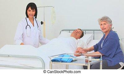 malade infirmière, elle, visiter