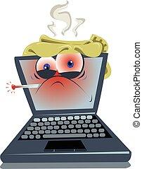malade, ordinateur portable