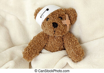 malade, ours, teddy